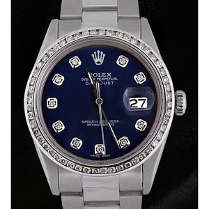 Rolex Datejust Men Watch Blue Diamond Dial Ss Oyster Bracelet Rolex