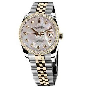 Rolex Datejust Men Watch Pearlized Mop Diamond Dial Two Tone Diamond Bezel Rolex