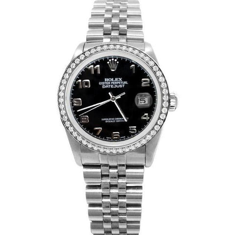 Rolex Datejust Men Watch Ss Jubile Black Arabic Dial Diamond Bezel Rolex
