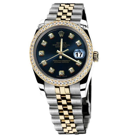 Rolex Datejust Men Watch Two Tone Diamond Bezel Blue Diamond Dial Rolex