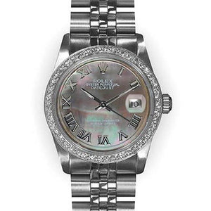Rolex Datejust Ss Midsize Watch Gray Mop Dial Rolex