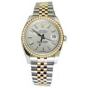 Rolex Datejust White Stick Dial Diamond Bezel Watch Gold & Ss Rolex