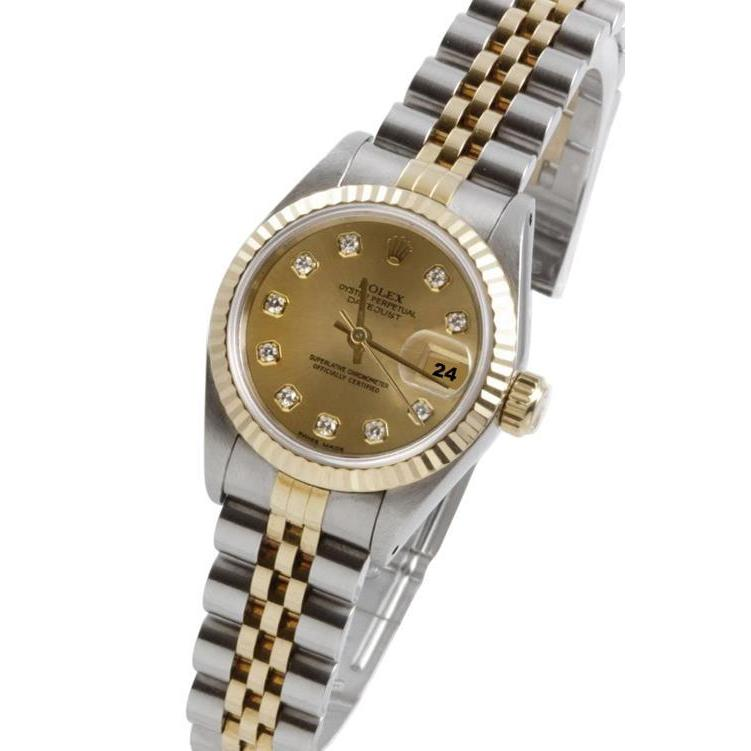 Rolex Ss & Gold Datejust Lady Watch Champagne Diamond Fluted Bezel Rolex