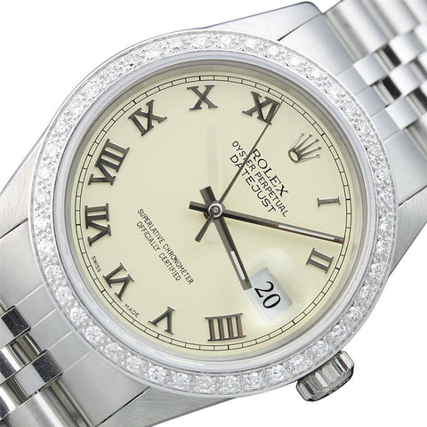Roman Dial Diamond Bezel Men Watch Ss & Gold Rolex Datejust Rolex