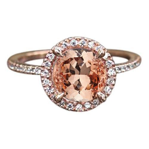Rose Gold 14K 9 Carats Round Cut Morganite And Diamonds Ring New Gemstone Ring