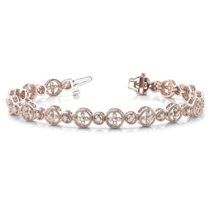 Rose Gold 14K Sparkling Round Cut 7.00 Carats Diamond Women Bracelet New Tennis Bracelet