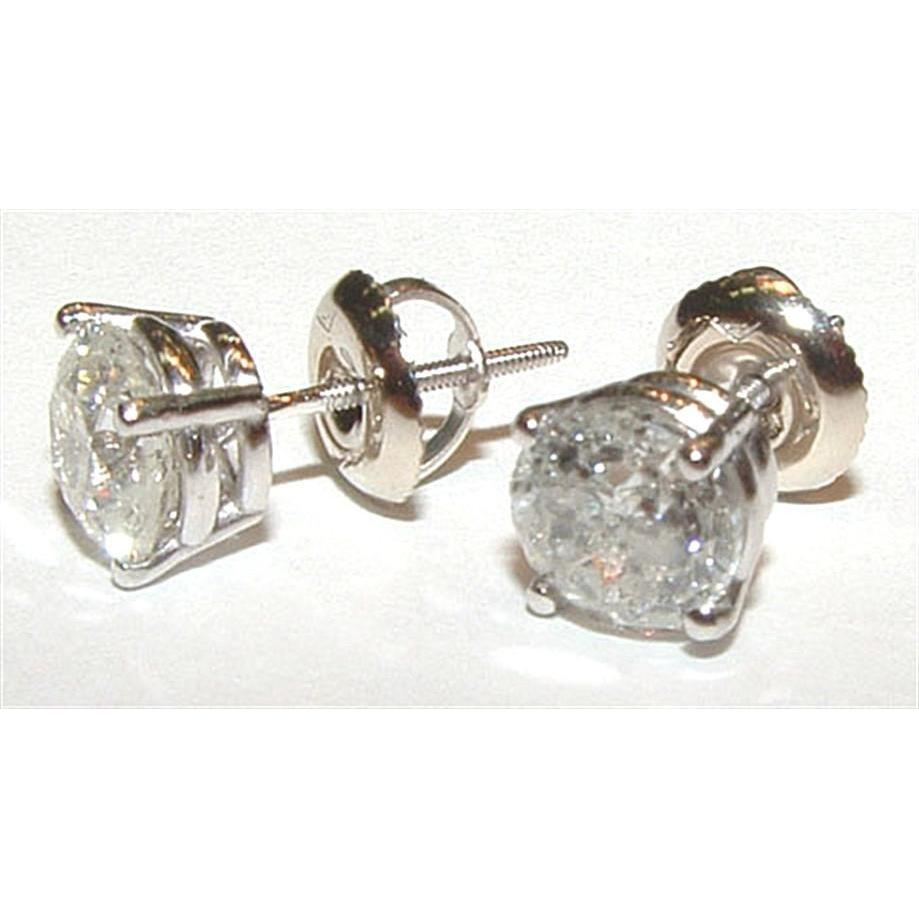 Round 1.05 Ct Diamonds White Gold Stud Earring Stud Earrings