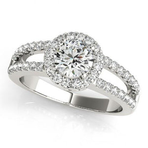 Round 1.60 Ct. Diamonds Double Row Engagement Fancy Ring Halo White Gold 14K Halo Ring