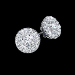 Round 4 Carat Halo Diamond Stud Earrings Push Back Halo Stud Earrings