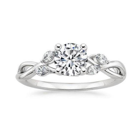 Round And Marquise Cut Diamonds 3.50 Carats Ring 14K White Gold Ring