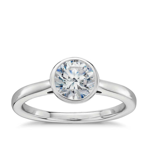 Round Bezel Set Diamond Wedding Solitaire Ring White Gold 14K 1.20 Ct Solitaire Ring