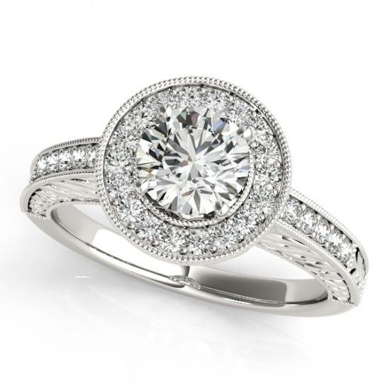 Round Brillian Diamonds Ring 1.25 Carats Engraved White Gold 14K Ring