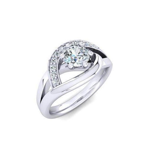 Round Brilliant Cut 1.70 Ct Diamonds Engagement Ring White Gold Engagement Ring