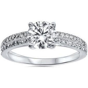Round Brilliant Cut 3.20 Ct. Diamonds Engagement Ring 14K Gold Solitaire Ring with Accents