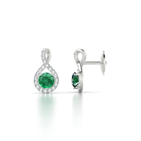 Round Brilliant Cut 6.10 Ct. Emerald And Diamonds Drop Earrings Gemstone Earring