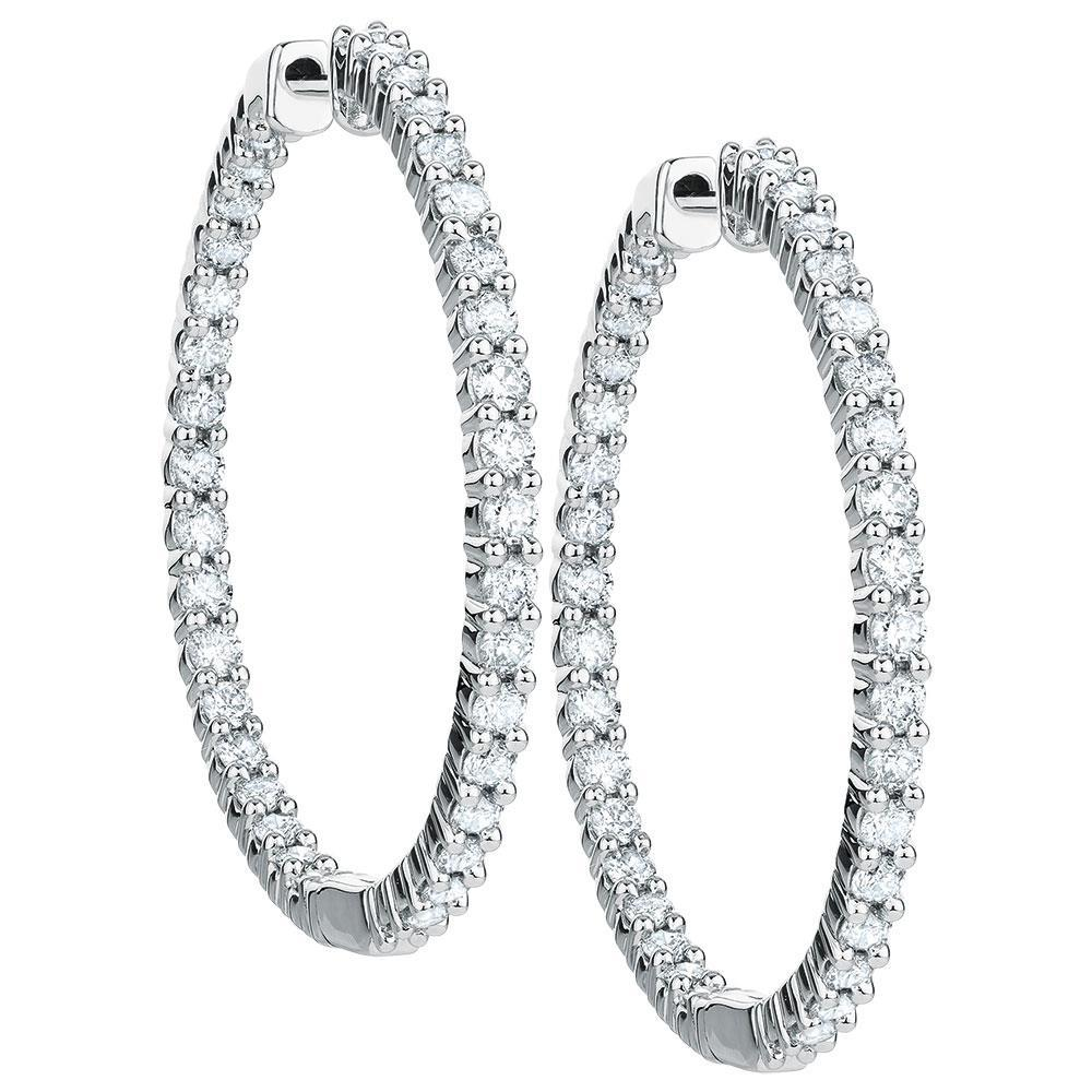 Round Brilliant Cut Diamond Hoop Earring White Gold  3.5 Ct. Hoop Earrings