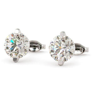 Round Brilliant Cut Diamond Stud Earrings 3.50 Carats White Gold 14K Stud Earrings