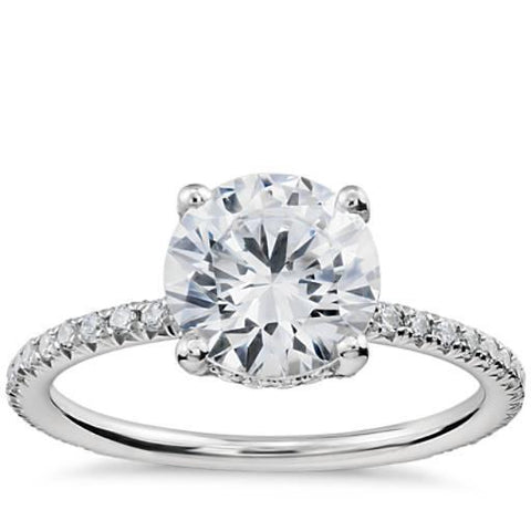 Round Brilliant Cut Diamond Wedding Ring White Gold 14K 5.25 Carats Solitaire With Accents Solitaire Ring with Accents