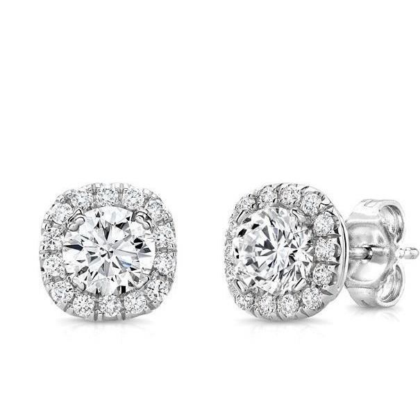 Round Brilliant Cut Halo Diamond Ladies Stud Earring 2.70 Carats White Gold Jewelry Halo Stud Earrings
