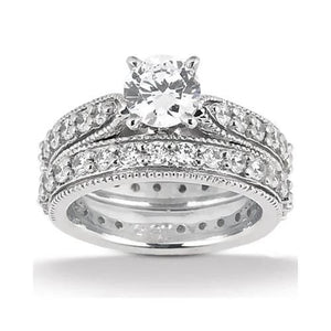 Round Brilliant Diamonds 1.70 Carat Engagement Ring Wrap Band Set Gold Engagement Ring Set