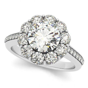 Round Brilliant Diamonds 2.75 Carats Solitaire With Accents Halo Ring Gold 14K Halo Ring