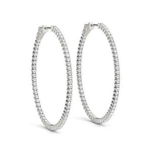 Round Brilliant Diamonds Hoop Earrings 1.75 Ct. F Vvs1 Diamond Earring Hoop Earrings