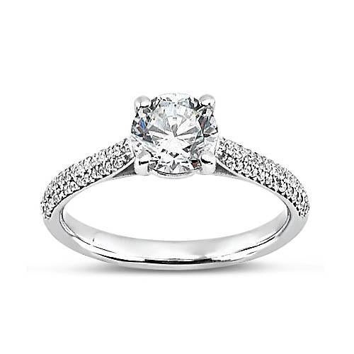 Round Brilliant Diamonds Solitaire With Accents Fancy Ring 2.58 Carat White Gold 14K Solitaire Ring with Accents