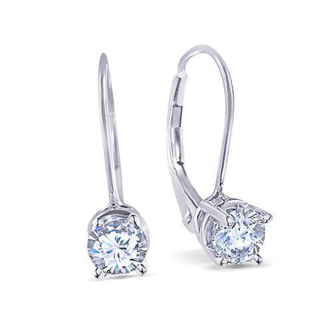 Round Brilliant Ideal Cut 3 Carat Diamonds Earring Pair Leverback White Gold Leverback Earrings