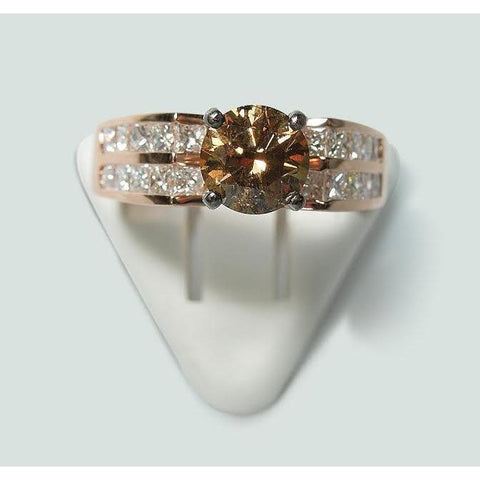 Round Brown Champagne Diamond Ring Rose Gold 14K 2.5 Carats Ring