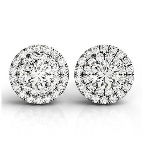 Round Center Diamonds 2 Carats Round Halo Pair Stud Earring White Gold 14K Halo Stud Earrings