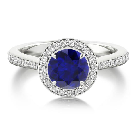 Round Ceylon Sapphire Halo Diamond Ring 3.5 Ct White Gold Jewelry 14K Gemstone Ring