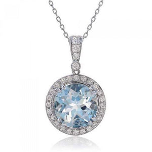 Round Cut 12 Carats Aquamarine With Diamonds Pendant White Gold 14K Gemstone Pendant