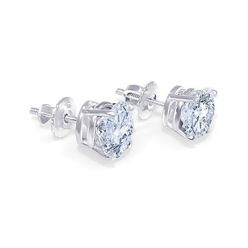 Round Cut 1.80 Carat Diamond Stud Pair Earring White Gold 14K Jewelry Stud Earrings