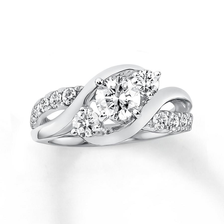 Round Cut 1.85 Carats Diamonds Anniversary Ring 14K White Gold New Three Stone Three Stone Ring
