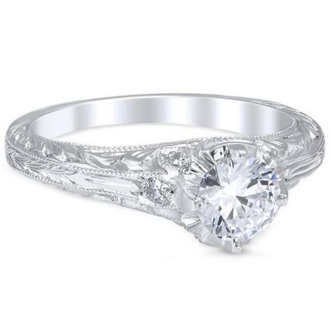 Round Cut 2.10 Carats Diamonds Antique Look Wedding Ring White Gold Anniversary Ring