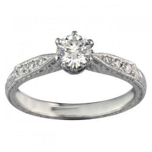 Round Cut 2.25 Ct Sparkling Diamonds Antique Style Ring White Gold Engagement Ring