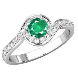 Round Cut 3.00 Carats Emerald And Diamonds Wedding Ring White Gold Gemstone Ring