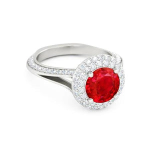 Round Cut 3.60 Carats Ruby And Diamonds Wedding Ring 14K White Gold Gemstone Ring