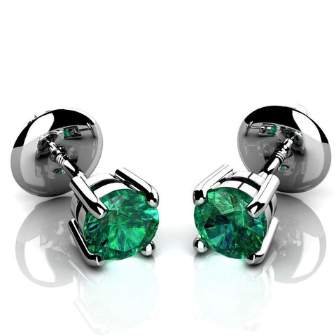 Round Cut 4.00 Carats Emerald Ladies Studs Earrings White Gold 14K Gemstone Earring
