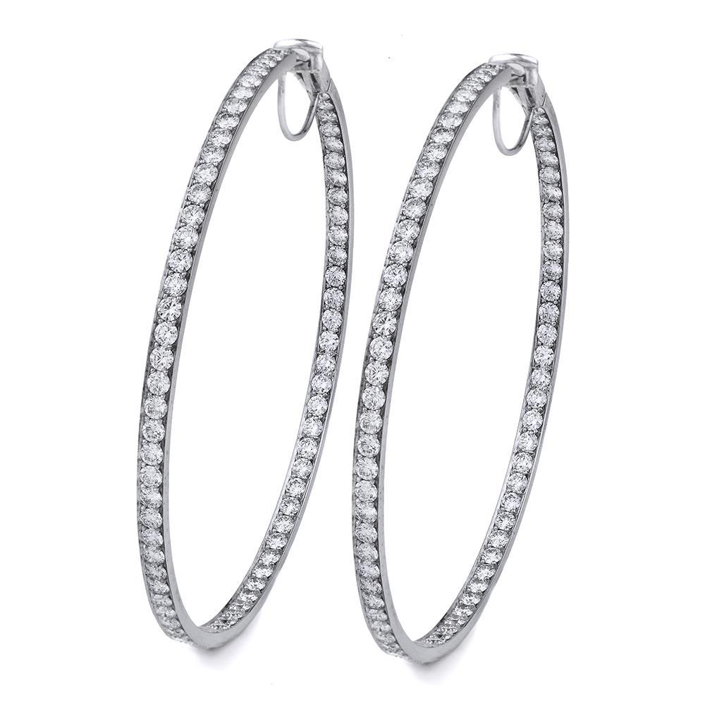 Round Cut 4.40 Carats Diamonds Women Hoop Earrings Gold White 14K Hoop Earrings
