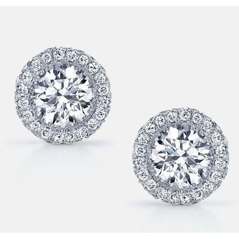 Round Cut 4.40 Carats Halo Diamonds Ladies Studs Earrings 14K Gold White Halo Stud Earrings