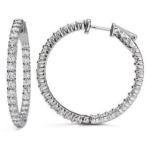 Round Cut 5.40 Ct Sparkling Diamonds Ladies Hoop Earrings Gold 14K Hoop Earrings