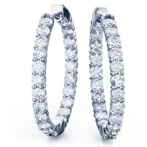 Round Cut 7.50 Carats Diamonds Lady Hoop Earrings White Gold 14K Hoop Earrings