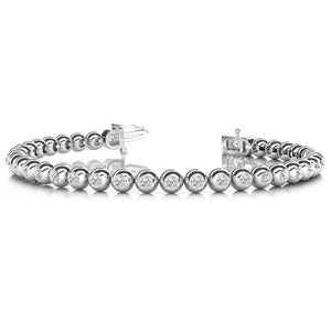 Round Cut Bezel Set 5.00 Carats Diamonds  Bracelet 14K White Gold Tennis Bracelet