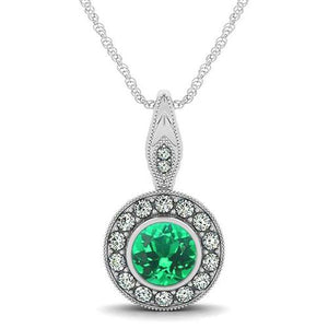 Round Cut Bezel Set Emerald And Diamonds 4.50 Ct Pendant White Gold Pendant