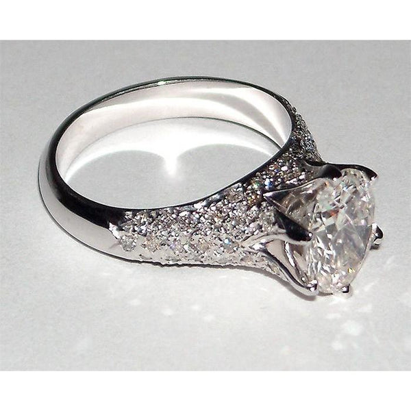 Round Cut Diamond Engagement Women Ring 2.75 Carats White Gold Engagement Ring