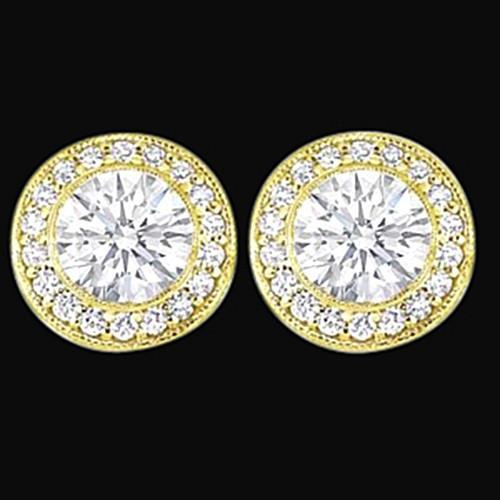 Round Cut Diamond Ladies Studs Halo Earring 3 Ct. Yellow Gold New Halo Stud Earrings