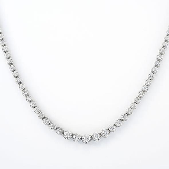 Round Cut Diamond Tennis Necklace White Gold Fine Jewelry 6 Ct Necklace