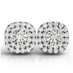 Round Cut Double Halo Diamond Stud Earring Pair 4 Carats White Gold Jewelry Halo Stud Earrings