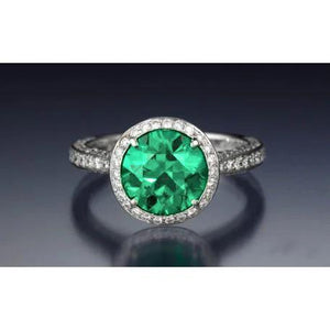 Round Cut Emerald With Diamond Engagement Ring 8.5 Carats 14K Gold Gemstone Ring